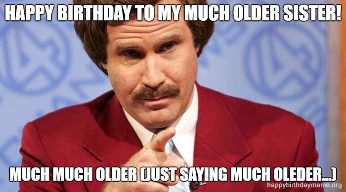 50th birthday meme older sister