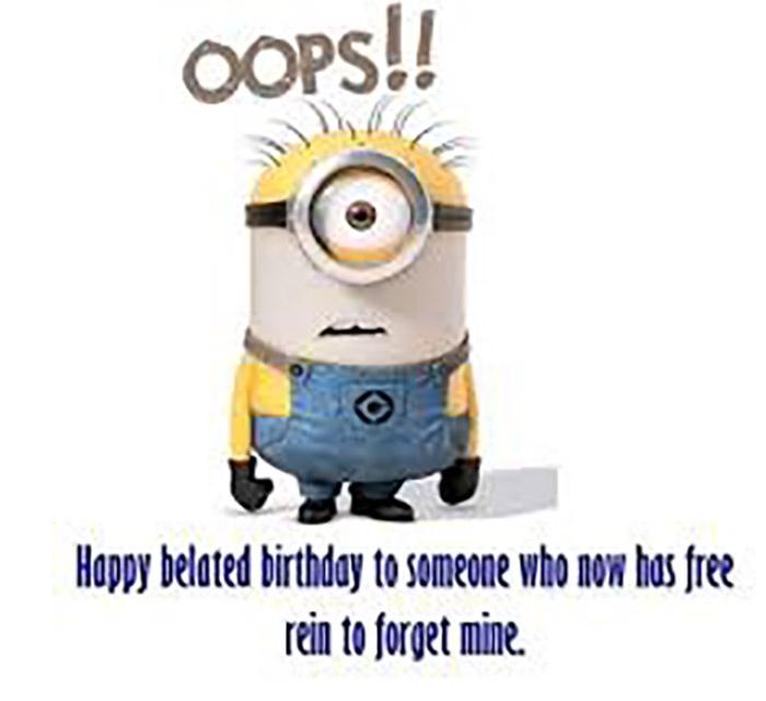 belated birthday meme minions