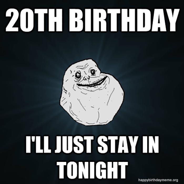 funny happy 20th birthday meme