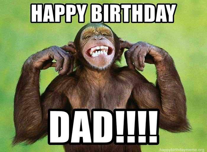 happy birthday dad meme from son monkey smiling