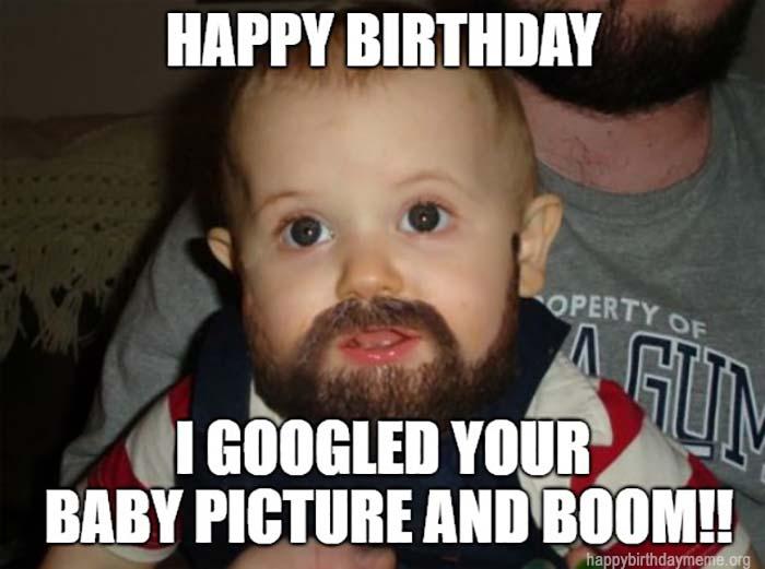 happy birthday meme baby beard
