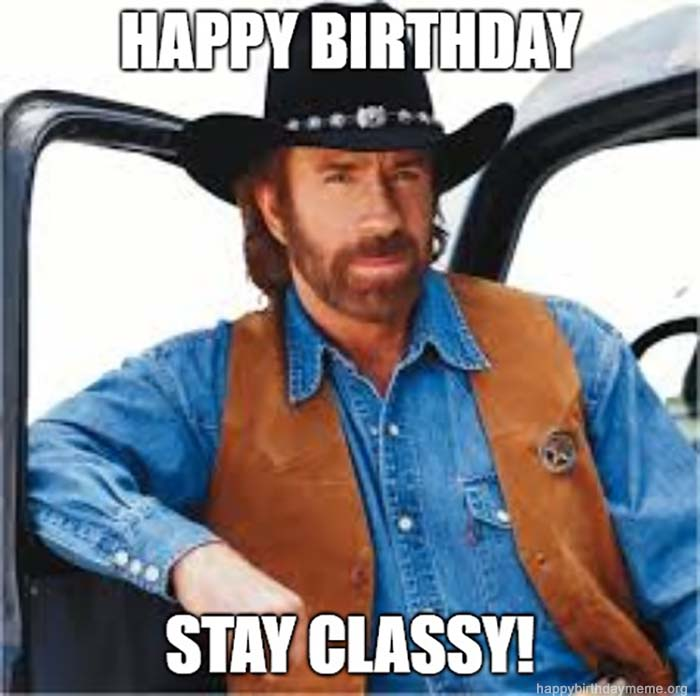 happy birthday meme brother Chuck Norris Texas Ranger