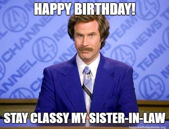 happy birthday sister in law meme