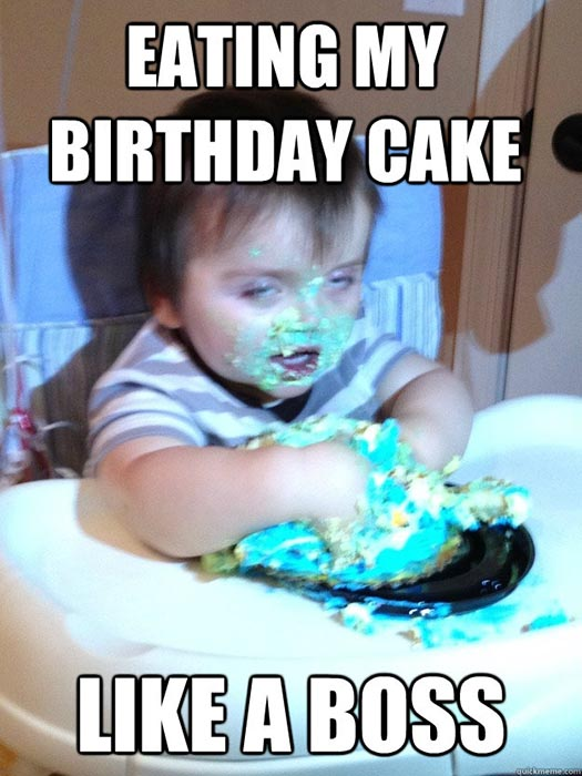 memes birthday cake eating like a boss