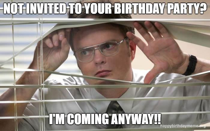 not invited birthday party meme