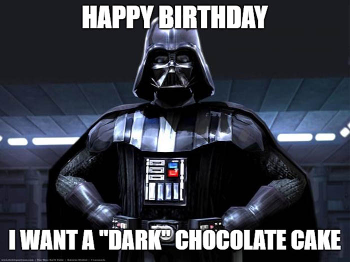 star wars birhday meme dark chocolate cake
