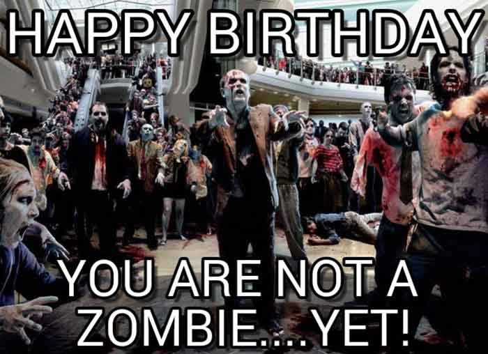 walking dead birthday meme you are not a zombie yet