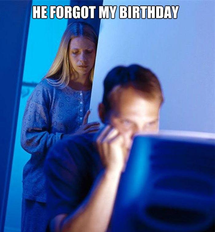 wife birthday meme forget