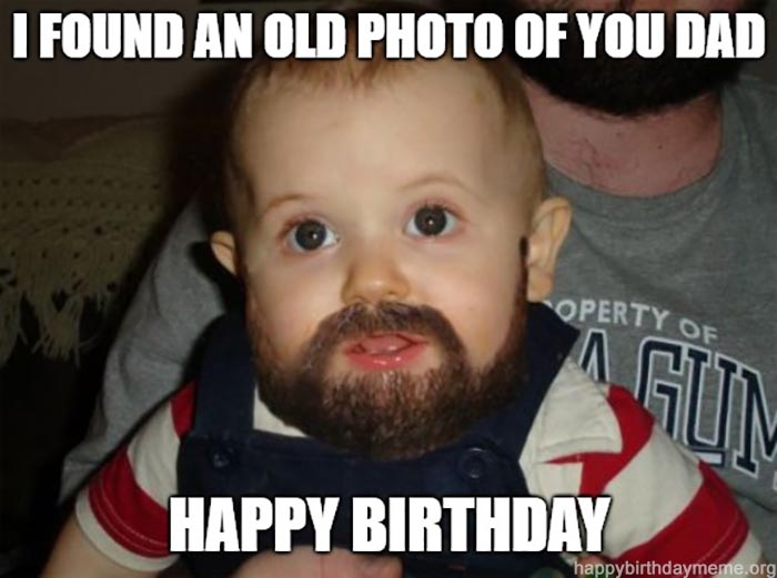 happy birthday dad meme from son old picture