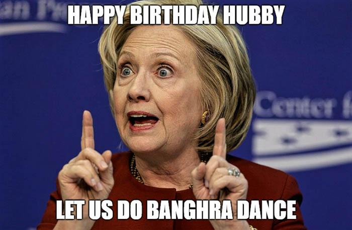 happy birthday husband meme funny hilary banghra dance