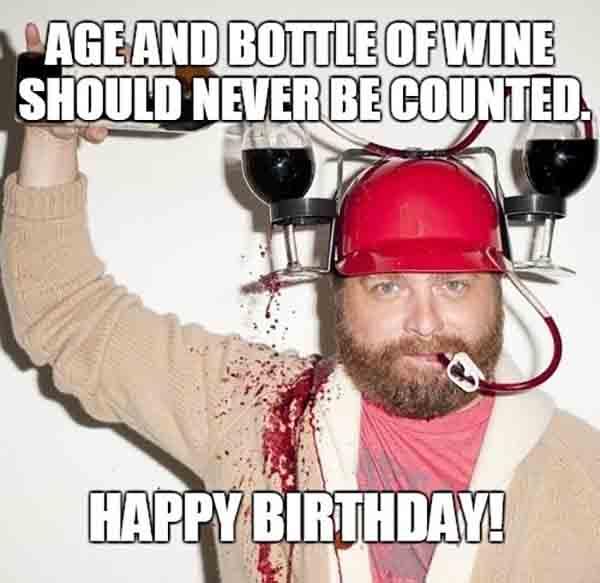 happy birthday meme wine funny