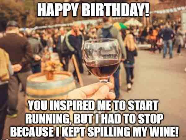 happy birthday meme with wine