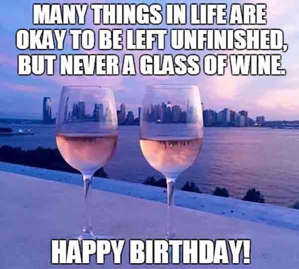 happy birthday wine glass meme