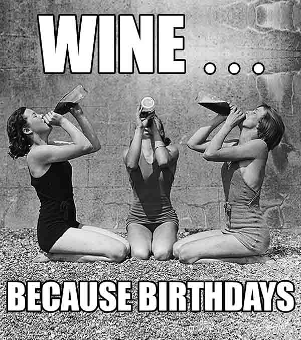 happy birthday wine meme for her