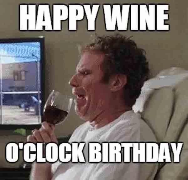 happy birthday with wine meme