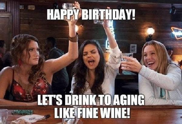 wine happy birthday meme