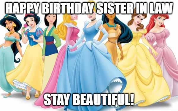 happy birthday sister in law meme disney
